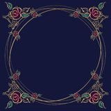 The frame is round. Roses. Gold. Vector illustration vector illustration