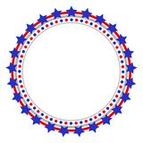Patriotic abstract American flag round logo frame. Decorative Patriotic abstract American flag round border frame logo symbol vector illustration