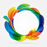 Frame rounded of colored petals. Multicolored rounded frame on white background Royalty Free Stock Photos