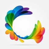Frame rounded of colored petals. Multicolored rounded frame on white background Royalty Free Stock Photography