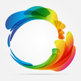 Frame rounded of colored petals. Multicolored rounded frame on white background Stock Photography