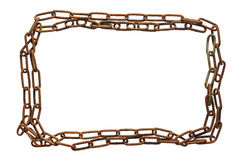 Frame of rusty metal and old chain. Isolated on white background. Stock Photos