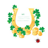 Frame for Saint Patricks day design with shamrock Stock Photo