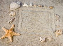 Frame in sand Royalty Free Stock Photography
