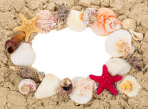 Frame with sand and seashells Stock Photo