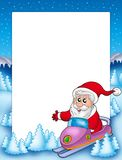 Frame with Santa Claus on scooter Stock Images