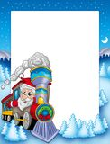 Frame with Santa Claus and train stock illustration