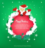 Frame santa and leaf for christmas ,copy space,vector stock illustration