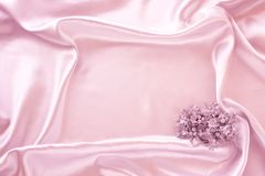 Frame from satin. Satin background whith Christmas decorations; place for your object Stock Photos