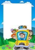Frame with school bus Stock Photos