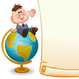 Frame with school children. Frame with school child,  boy on globe. Space for text. Vector illustration Royalty Free Stock Image