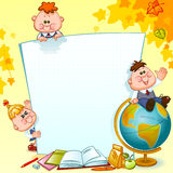 Frame with school children. School supplies and globe. Space for text. Vector illustration Stock Image