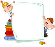 Frame with school children. And school supplies. place for text. Vector illustration Stock Photos