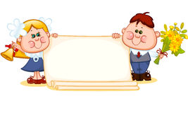 Frame with school children Stock Images