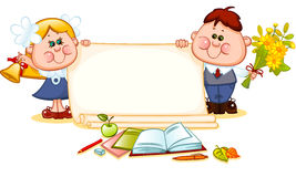 Frame with school children. And school supplies. place for text. Vector illustration Royalty Free Stock Photo