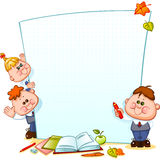 Frame with school children. And school supplies. Space for text. Vector illustration Stock Photos