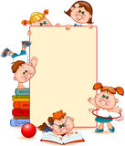 Frame with school children. And school supplies. Space for text. Vector illustration Stock Image