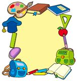 Frame from school objects Royalty Free Stock Photo