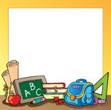 Frame with school supplies 1 stock illustration