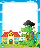 Frame with school theme crocodile Royalty Free Stock Image