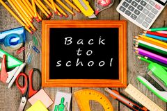 Frame and school tools. Vertically. Stock Image