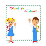 Frame with schoolkids Royalty Free Stock Photo