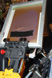 Frame for screen printing. Ready mounted over a carousel machine Stock Photography