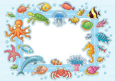 Frame with Sea Animals. Rectangular frame with Sea Animals, no gradients Stock Photo