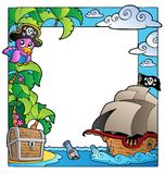 Frame with sea and pirate theme 1 Royalty Free Stock Image