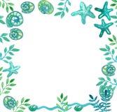 Frame of sea shells, sea stars and algae stock illustration