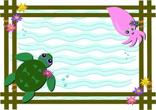 Frame of Sea Turtle and Baby Squid Stock Images