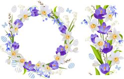 Frame and seamless border with spring flowers Stock Photography