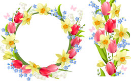 Frame and seamless border with spring flowers Royalty Free Stock Image