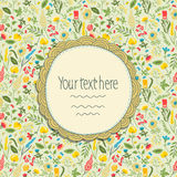 Frame on seamless floral pattern. Royalty Free Stock Images
