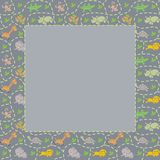 Frame with seamless pattern of funny animals Royalty Free Stock Image