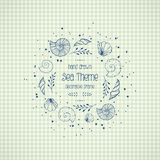 Frame with seashells in sketch style on paper Royalty Free Stock Photo