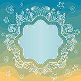 Frame with seashells, starfish, leaves Stock Photos