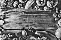 Black and white photo. Frame with seasonal ingredients in Thanksgiving Day. Food frame Stock Photos
