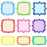 Frame set. Set of 9 bright  frames with gingham pattern Stock Photos
