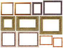 Frame set. Different picture frame border isolated on a white background with clipping path Royalty Free Stock Image