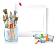Frame with a set of brushes, paints Stock Photography