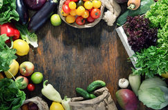 Frame of set of healthy food on rustic wooden table. Top view Royalty Free Stock Photography