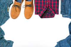 Frame of set men`s autumn clothes on white background. Flat lay stock photography