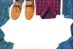 Frame of set men`s autumn clothes on white background Stock Photography