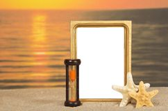 Frame, set of sea cockleshells, hourglasses Royalty Free Stock Photo