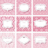 Frame set on seamless patterns. In pastel pink stock illustration