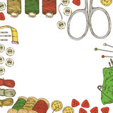 Frame with Sewing Supplies and Accessories Royalty Free Stock Photography