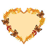 Frame in the shape of a heart with butterflies autumn theme vector. Frame in the shape of a heart with butterflies and rowan berry autumn theme vector Royalty Free Stock Image