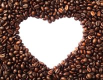 Frame in the shape of heart from coffee beans Royalty Free Stock Photography