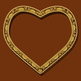 Frame in the shape of heart gold color with shadow Royalty Free Stock Images